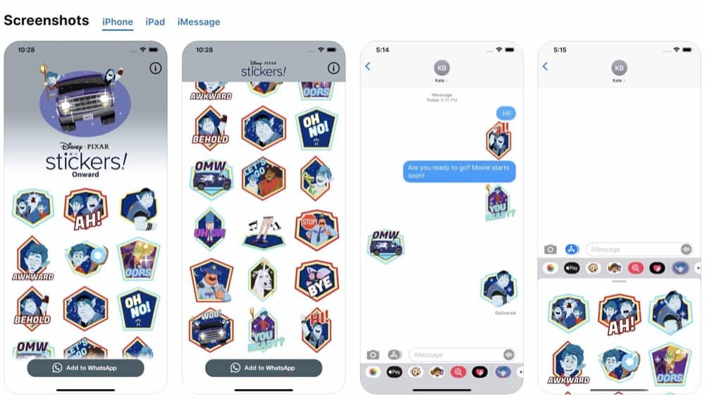 Onward Stickers app for iPhone