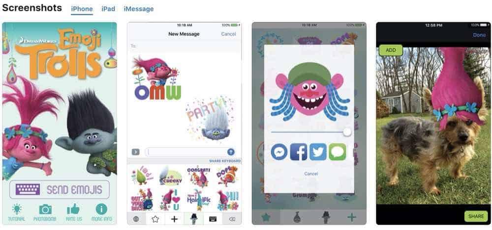 Emoji Trolls iphone screenshots