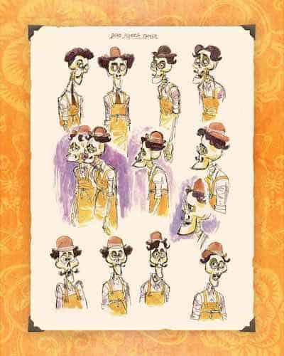 Pixar Coco Dead Rivera family sketches
