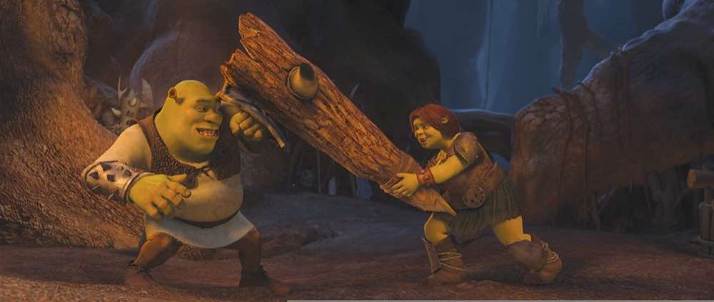 Shrek Forever After Shrek and Fiona practicing fighting