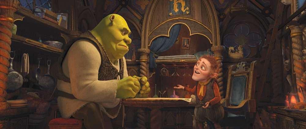 Shrek Forever After Shrek at a table with Rumpelstiltskin
