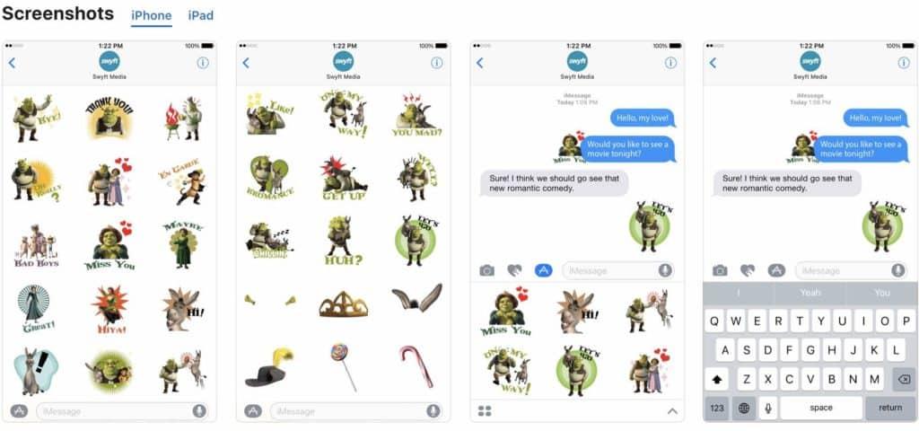 Shrek movie stickers iphone screen shots