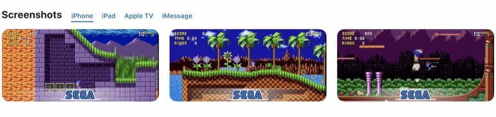 Sonic the Hedgehog classic iphone screen shots