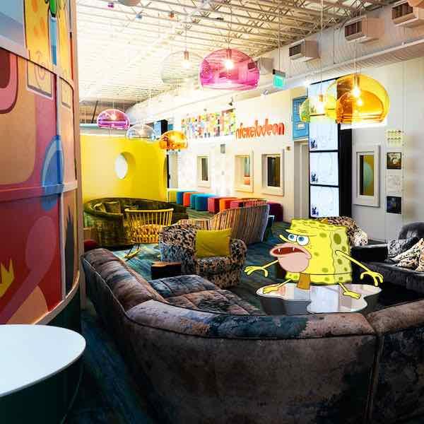 spongebob at Nickelodeon studios lounge room