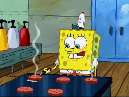 SpongeBob flipping burgers with his original spatula