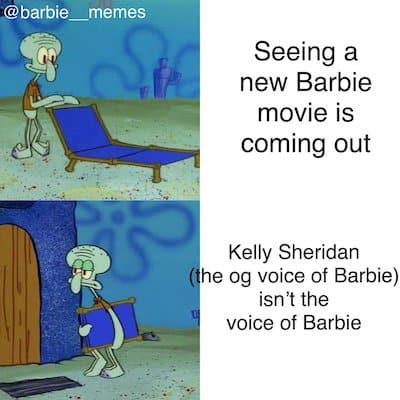 Barbie character different voice meme