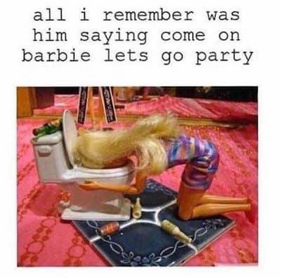 Barbie feeling sick meme