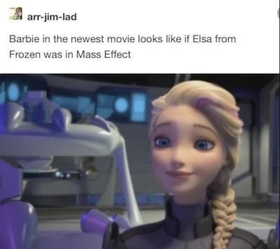 Barbie looks like Elsa meme