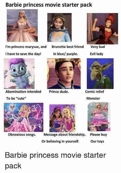 Barbie princess start pack meme