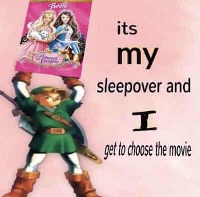Link choosing a Barbie movie for a sleep over meme