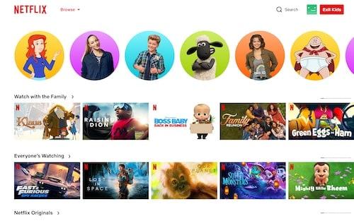 Netflix kids movies list on Netflix menu view