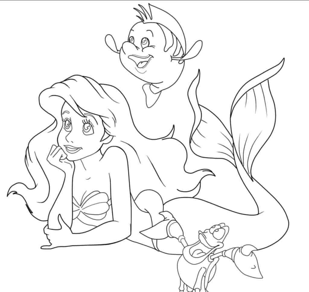 Ariel Disney Princess Flounder and Sebastian coloring page