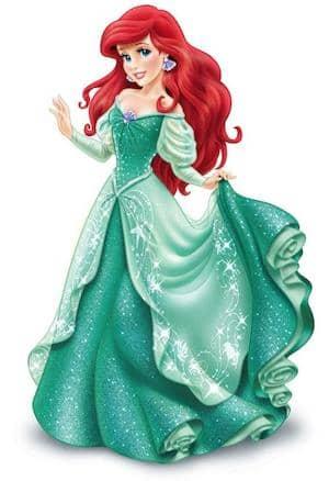 Ariel Disney Princess full figure green dress