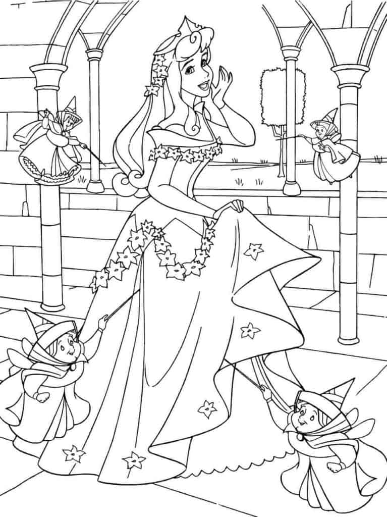 Aurora Disney Princess Sleeping Beauty with fairy god mothers coloring page