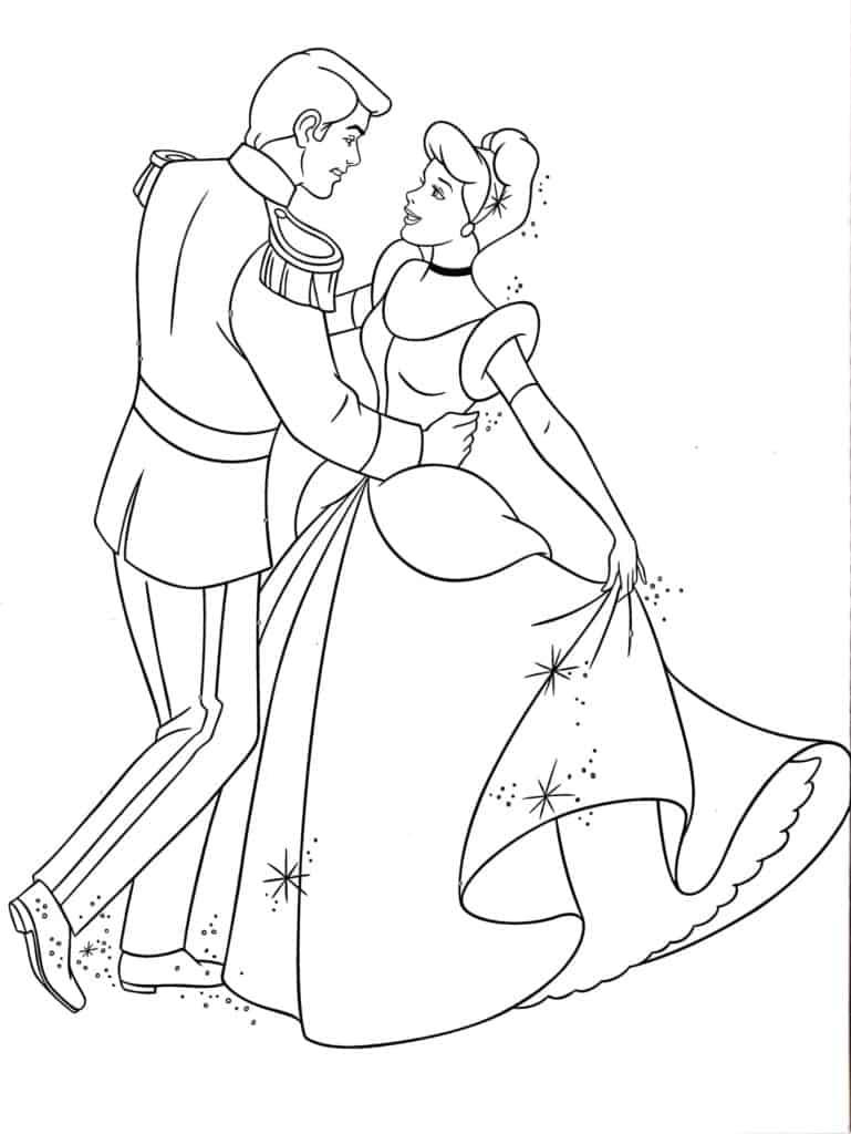 Cinderella Disney Princess dancing with Prince Charming coloring page
