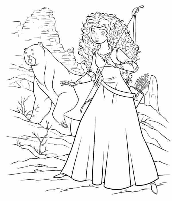 Merida Disney Princess and bear coloring page