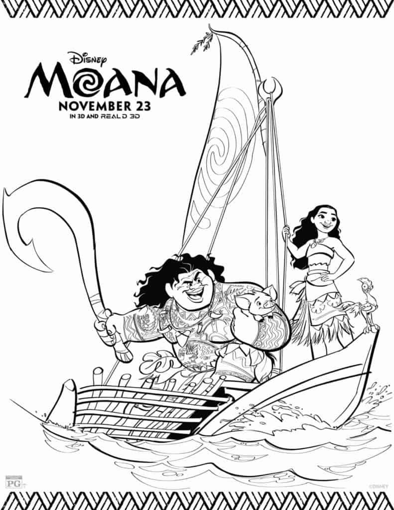 Moana Disney Princess Maui Pua and Heihei sailing coloring page