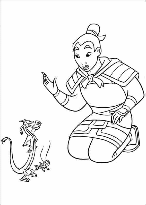 Mulan Disney Princess Mushu and Cri Cree coloring page