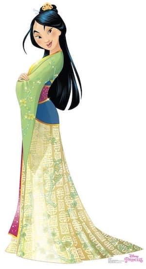 Mulan Disney Princess full figure green and yellow dress