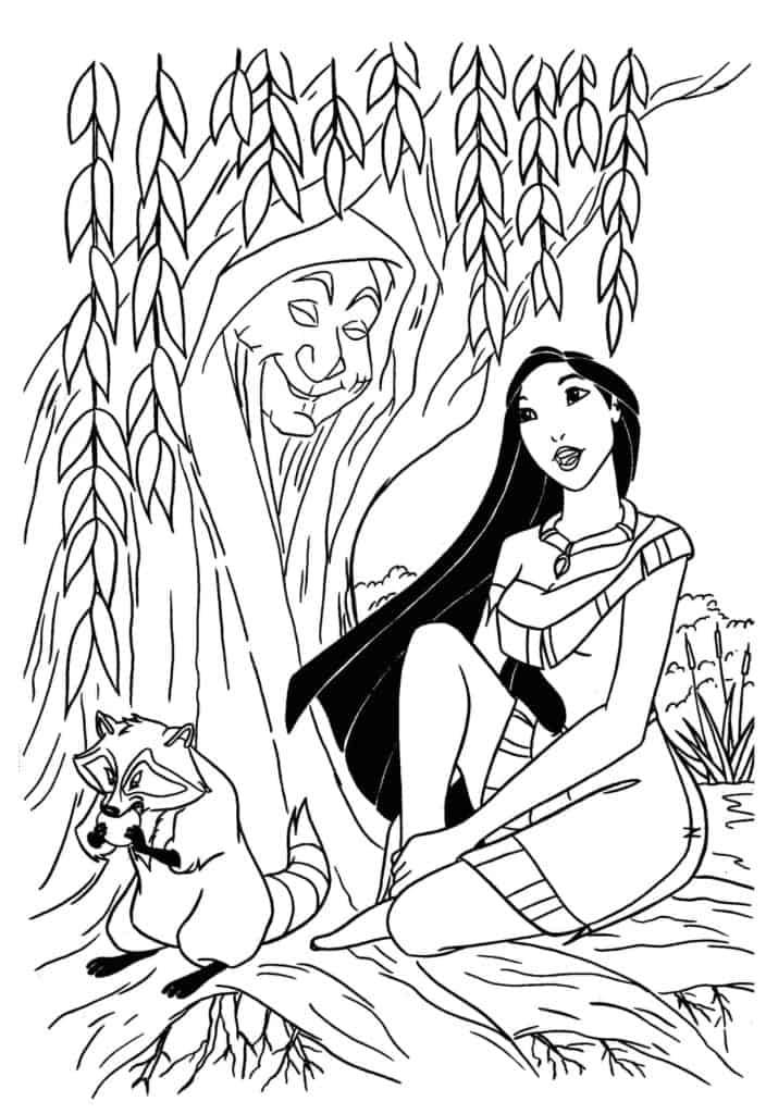 Pocahontas Disney Princess Grandmother Willow and Meeko coloring page