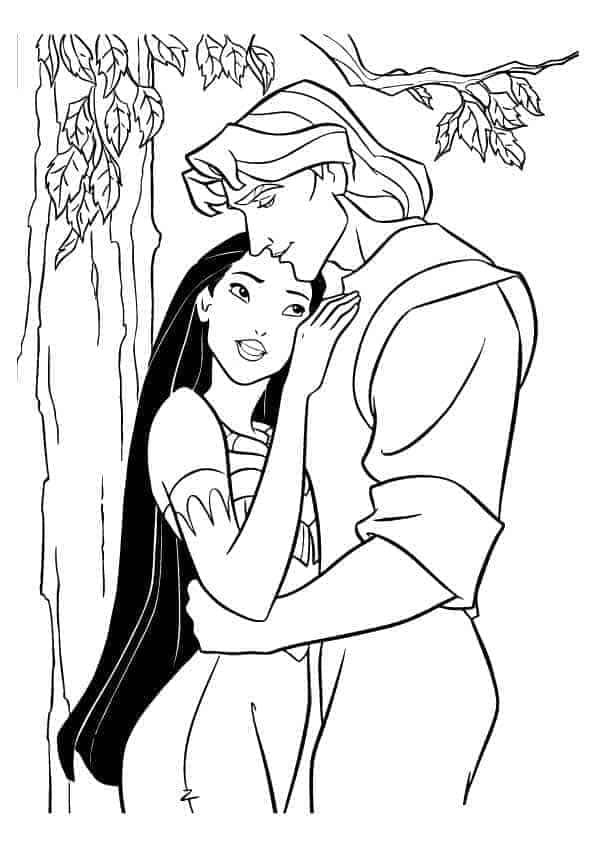 Pocahontas Disney Princess and John hugging coloring page