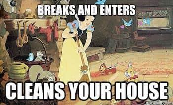 Snow White meme cleans house